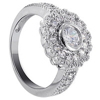 925 Sterling Silver Round Cubic Zirconia with Accents Ring #DSRS002