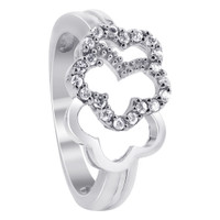925 Sterling Silver Cubic Zirconia Floral Design Ring