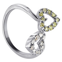 925 Sterling Silver Clear and Yellow Cubic Zirconia Heart Ring #DSRS016