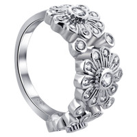 925 Sterling Silver Round Cubic Zirconia Floral Ring