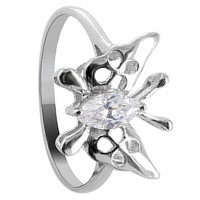 925 Sterling Silver Cubic Zirconia Butterfly Design Solitaire Ring #DSRS022