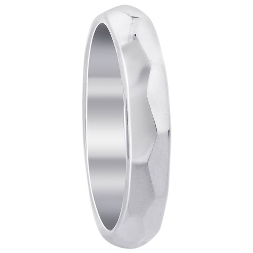 925 Sterling Silver Faceted 4mm Wedding Band