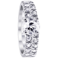Rhodium Plated Sterling Silver Round Cubic Zirconia Engagement Ring Wedding Band Set #DSRS045