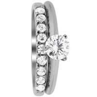 Rhodium Plated Sterling Silver Cubic Zirconia with Accents Engagement Ring Wedding Band Set #DSRS048