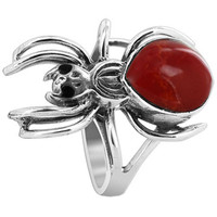 925 Sterling Silver Widow Spider with Coral Gemstone 2mm Ring #EMRS044