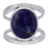 Sterling Silver Oval Blue Lapis Gemstone 5mm Solitaire Ring