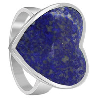 925 Sterling Silver Blue Lapis Lazuli Gemstone 20 x 19mm Heart Ring