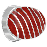 Men's 925 Sterling Silver Coral 25 x 16mm Oval with Stripes Design Ring #EMRS073