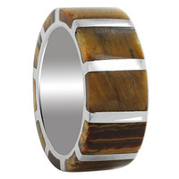 925 Sterling Silver Tiger eye Gemstone with Strips Design 9mm Band #EMRS078