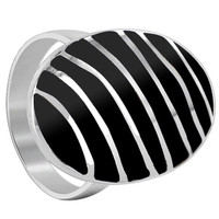 925 Sterling Silver Black Onyx Gemstone 25 x 16mm Oval with Stripes Design Ring