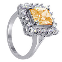 925 Sterling Silver Champagne Color Cubic Zirconia Ring #ENRS007