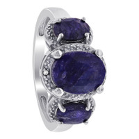 925 Sterling Silver Oval Dyed Sapphire Gemstone and Clear Stones Ring