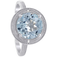 925 Sterling Silver Faceted Round Blue Topaz Gemstone Ring