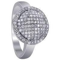 Sterling Silver Round Micro Pave set Cubic Zirconia Ring #GR029
