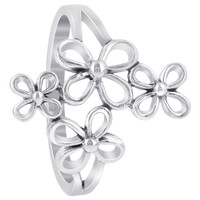 925 Plain Sterling Silver Flower Ring #GR041