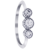 925 Sterling Silver Round Cubic Zirconia Three Stone Ring