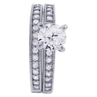 Sterling Silver 6mm Round Cubic Zirconia with accents Wedding Band Engagement Ring Set
