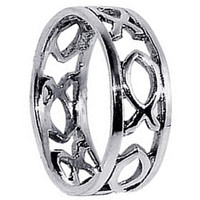 925 Sterling Silver Polished Finish Fish hollow cut outs 6mm Wide Band