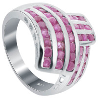 925 Silver Ruby July Birthstone Gemstone Round Ring