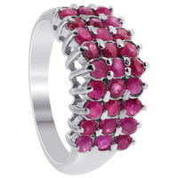 Sterling Silver Pretty Ruby Gemstone Round Ring #KKR041