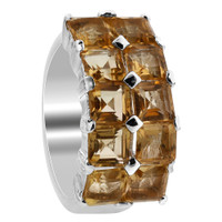 Sterling Silver Citrine Gemstone Square Ring #KKR052