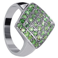 925 Sterling Silver Peridot Gemstone Round Ring