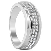 925 Sterling Silver Cubic Zirconia Round Ring #LHRS002