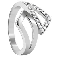 925 Sterling Silver Cubic Zirconia Round Ring #LHRS003