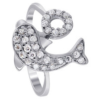 925 Sterling Silver Cubic Zirconia Pave Set Dolphin with Hoop Ring