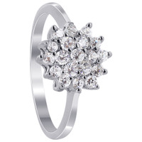 925 Sterling Silver Cubic Zirconia Pave Set with Flower Design Ring