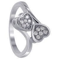 925 Sterling Silver Cubic Zirconia Round Double Studded Hearts Ring #LHRS007