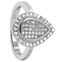 925 Sterling Silver Cubic Zirconia Pave Set Studded Teardrop with Round Ring #LHRS009