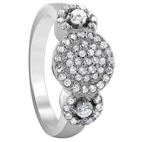 925 Sterling Silver Cubic Zirconia Round Pave Set Triple Studded Circle Design Ring