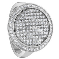 925 Sterling Silver Cubic Zirconia 1mm Round Pave Set Studded Ring #LHRS016