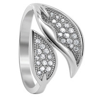 925 Sterling Silver 1mm Round Cubic Zirconia Two Studded Leaves Ring #LHRS017