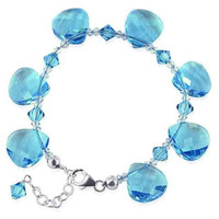 "925 Silver Blue Crystal 7 to 8.5"" Handmade Bracelet Made with Swarovski Elements"