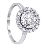 Silver Plated 7mm Round Cubic Zirconia Solitaire with Accents Ring  #GR206