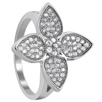 925 Sterling Silver Cubic Zirconia Round 19mm Flower Design Ring #LHRS018