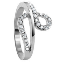 925 Sterling Silver Cubic Zirconia Round 12mm Loop Design Ring