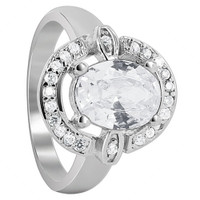 925 Sterling Silver Cubic Zirconia 9mm x 7mm Oval Ring