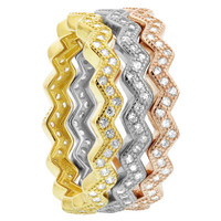 925 Silver Three Tone Stacked Zig Zag CZ 7.5mm Band