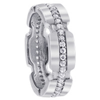 Sterling Silver Clear Cubic Zirconia Round 4mm to 6mm wide Eternity Band #LHRS024