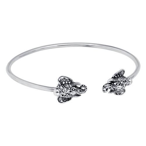 Sterling Silver Elephant Open Cuff Bracelet One Size Fits All