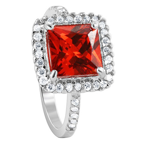 925 Sterling Silver 8mm Square Light Siam with Clear Cubic Zirconia Ring
