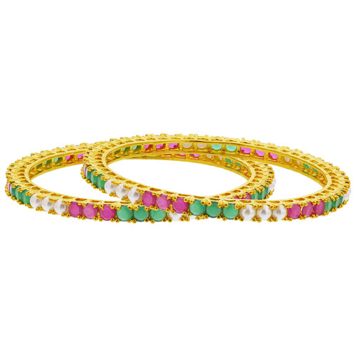 Gold Plated Ruby & Emerald Color Glass & Pearl Bollywood Indian Bangle Bracelets