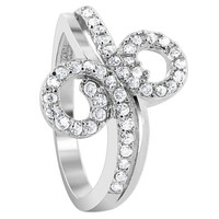 925 Sterling Silver Cubic Zirconia Round Double Studded loop Design Ring