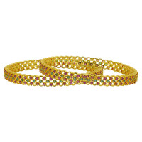Gold Plated Simulated Ruby and Emerald CZ Bollywood Indian Bangle Bracelets Set Size 2.8