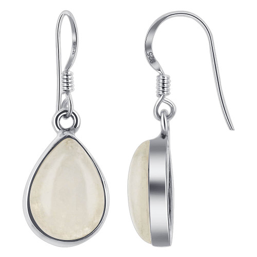 Teardrop Shape Simulated Moonstone Gemstone 925 Sterling Silver Drop Earrings