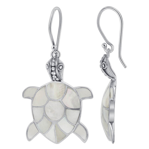 Mother of Pearl Handcrafted Turtle 925 Sterling Silver Drop Earrings