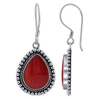 Pear Shape Simulated Coral Gemstone Braided Design 925 Sterling Silver Drop Earrings